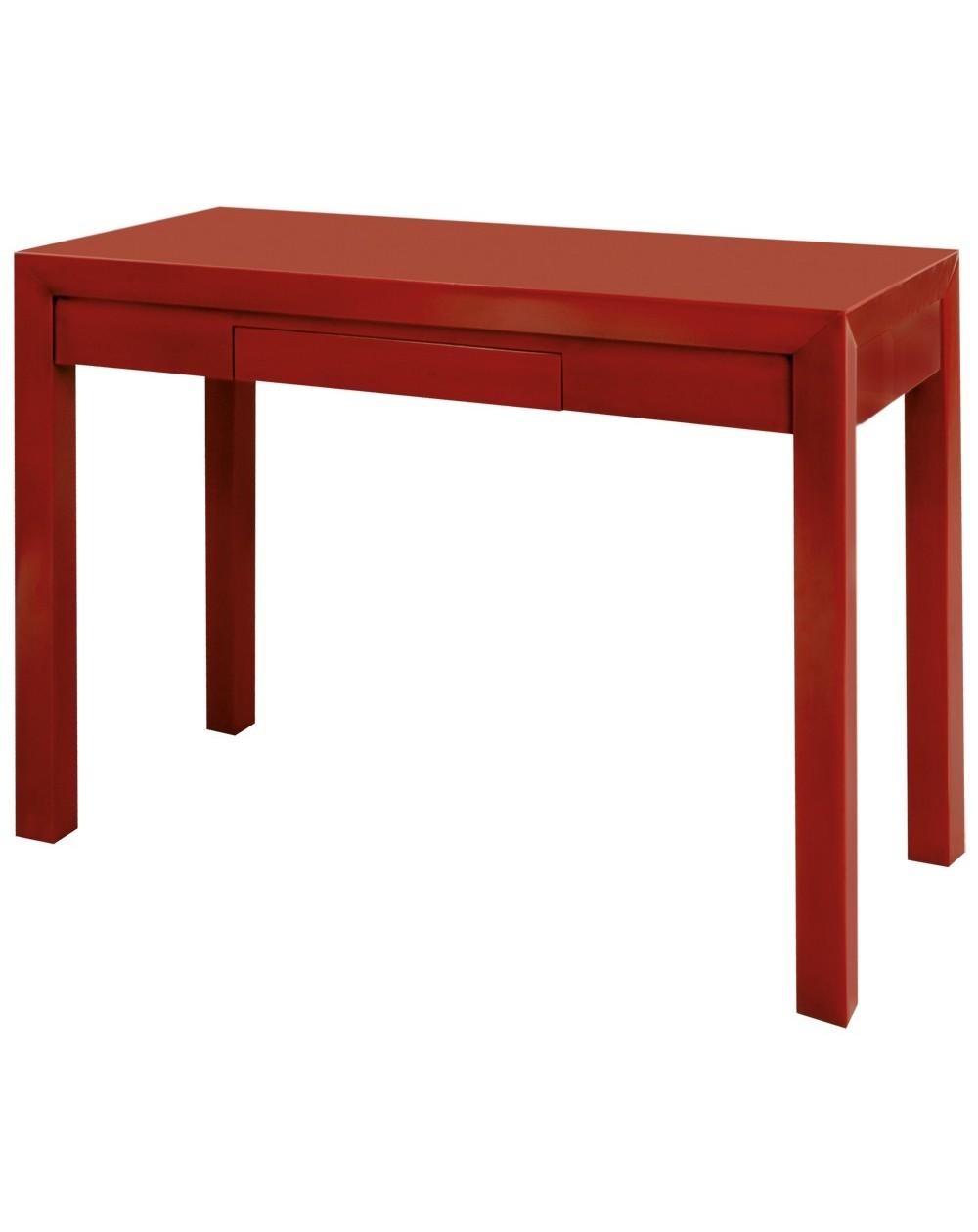Modèle présenté en Merisier Massif laqué Rouge.