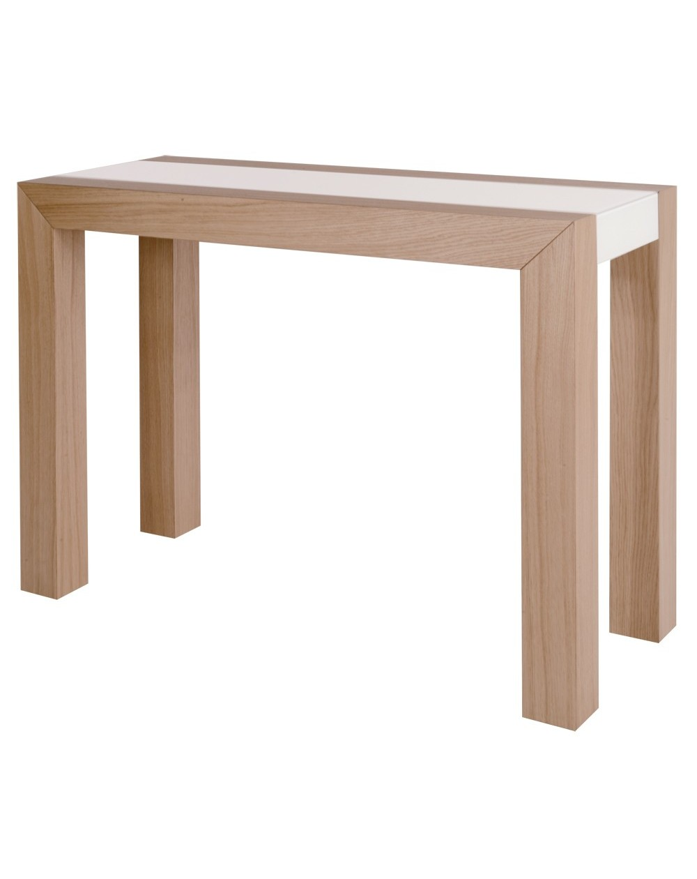 Table console extensible mirror en laque ou chene avec - Table console extensible blanc laque design ...