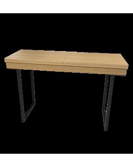 Console extensible présentée en chêne naturel avec pieds metal noir mat style atelier